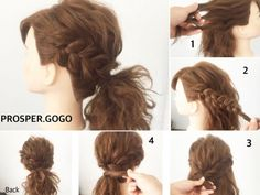 Step by step side braid Ponytail Styles, Curly Hair Styles, Messy Hairstyles, Pretty Hairstyles, Wedding Hairstyles, Hair Arrange, Asian Hair, Hair Dos, Hair Hacks