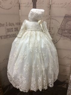 Christening gown with bonnet-baptism clothes-lace baby dress-Karina