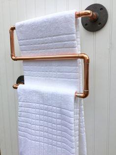 Copper Pipe Towel Rack Industrial Towel Bar Modern by MacAndLexie