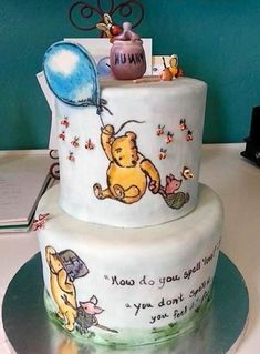 """Hand-painted Winnie Pooh""""How DonYou Spell Love"""" Cake by Sweet Chile Bakery -Stephaine Kellar Design Winnie The Pooh Cake, Winnie The Pooh Birthday, Fancy Cakes, Cute Cakes, Pink Cakes, Baby Shower Cakes, Beautiful Cakes, Amazing Cakes, Cakes By Stephanie"""