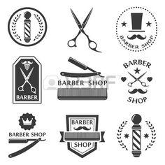 Barber shop logo labels badges vintage Stock Vector