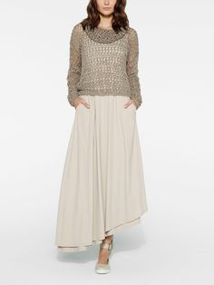 Sarah Pacini long sleeveless layered dress and knit pullover