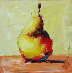 Pear Original still life food palette knife contemporary modern abstract daily impasto painting Gemini 6x6