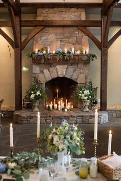 Our little mountain wedding in North Carolina at Castle Ladyhawke. Beautiful candlelit fireplace decor with greenery and florals. photos by Kickstand Studio Wedding Fireplace Decorations, Wedding Mantle, Simple Wedding Decorations, Wedding Ideas, Wedding Centerpieces, Rustic Wedding, Simple Fireplace, Candles In Fireplace, Fireplace Mantle