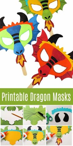 This printable dragon mask and coloring page will have any dragon lover smiling. From a DIY dragon mask for Halloween to a fun-loving movie night, this will be a hit! via movies mask Printable Dragon Mask - Coloring Page and Template Dragon Birthday Parties, Dragon Party, Taco Crafts, Masque Halloween, Dragon Mask, Paper Puppets, Mask Template, Dragon Crafts, Unicorn Party