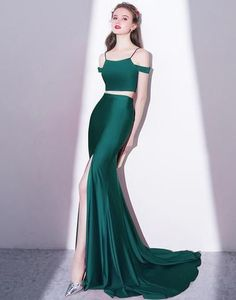 Simple two pieces green long prom dress, high slit evening dress,HS045 #fashion#promdress#eveningdress#promgowns#cocktaildress