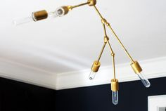 Gold light fixture.