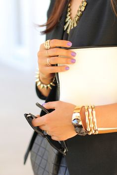 Love the nail color and the bracelets!