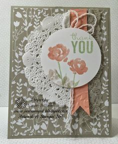 Just Sponge It: Who Doesn't Need Thank You Cards? Something Borrowed dsp, Painted Blooms dsp, Painted Blooms Cotton Twine, Tea Lace Doilies, Thank you cards, Get Well Cards, DIY, Stampin' Up!