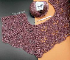 Best 12 It is a website for handmade creations,with free patterns for croshet and knittiLeaf Yoke Sweater Crochet pattern by Natalia Kononova Pull Crochet, Crochet Yoke, Crochet Collar, Crochet Jacket, Crochet Poncho, Crochet Cardigan, Baby Girl Crochet, Crochet Woman, Crochet Stitches Free