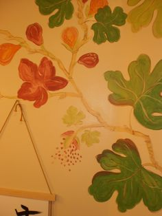 This wall painting in the powder room matched the curtains in her kitchen. House Art, Powder Room, Plant Leaves, Curtains, Wall, Kitchen, Plants, Painting, Decor