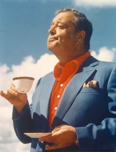 """Jackie Gleason- Yeah, Jackie had a TV show (besides the Honeymooners) his tag line was """"And awaaaay we go! People Drinking Coffee, Drinking Tea, Hollywood Stars, Old Hollywood, Classic Hollywood, Jackie Gleason, Famous Faces, Funny People, Comedians"""