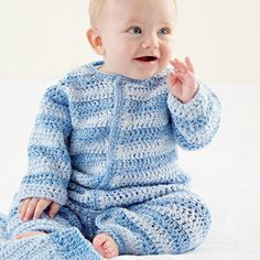 Baby Boy Crocheted Onesie.  Make this cute and cuddly onesie with our free crochet patterns and instructions.