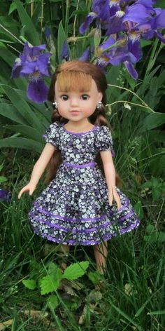 Ruffled dress in purple for Hearts for Hearts doll
