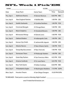 Crazy image inside printable nfl weekly pick em sheets