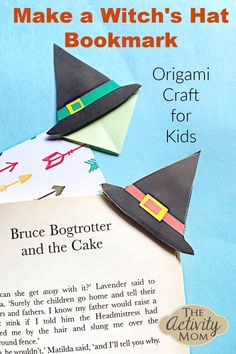 Witch's Hat Bookmark Craft for Kids. Halloween origami craft for kids. Step by step instructions for how to make this simple bookmark. #halloween #craftsforkids #kidscraft #witch #bookmark #origami Fun Halloween Crafts, Halloween Activities For Kids, Kids Learning Activities, Easy Crafts For Kids, Holiday Activities, Craft Activities, Crafts To Make, Fun Learning, Bookmark Craft