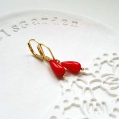 Red Coral Earrings. 14k Gold filled natural dangle earrings teardrop earrings italian jewellery everyday classic historical jewelry by MyJewelsGarden Botanical Jewelry by Myjewelsgarden