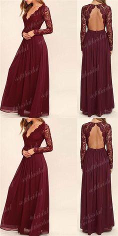 Burgundy Lace V-neck Open Back A-line Chiffon Bridesmaid Dresses, Long Sleeve Wedding Guest Dresses, PD0299