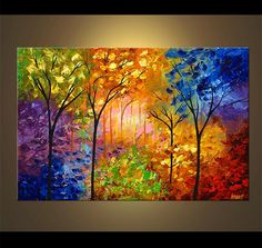 Items similar to Colorful Blooming Trees Painting Original Abstract Landscape Modern Palette Knife by Osnat - MADE-TO-ORDER - on Etsy