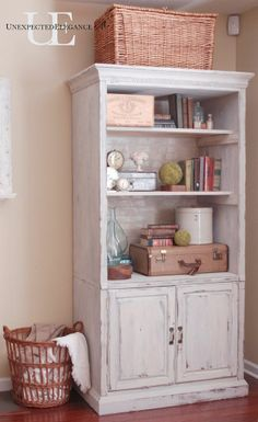 media cabinet makeover: entertainment center to bookcase