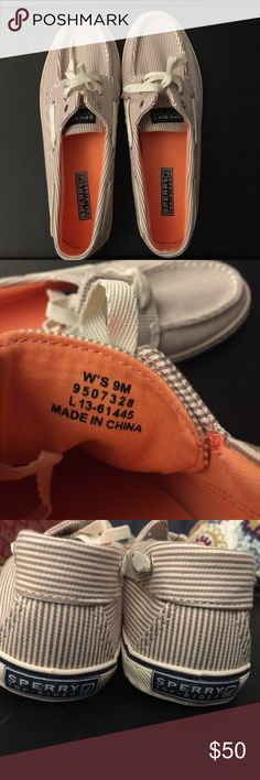 Sperry Top Sider Tan Stripe Canvas Shoe Slip On Brand new Sperry Top Sider, no box or tags, size 9 - light orange interior lining - canvas tan stripe shoe - see pictures for detail and bottom of shoe! Comes from a smoke-free home! 💕 Sperry Top-Sider Shoes Flats & Loafers