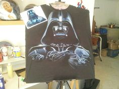 Aerografia darth vader camiseta, airbrush t-shirt