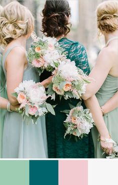 Wedding Day Teal bridesmaid dress pairs beautifully with soft hemlock green and pastel pink. Teal Wedding Flowers, Wedding Mint Green, Wedding Colors, Wedding Bouquets, Wedding Mandap, Hair Flowers, Wedding Receptions, Wedding Dresses, Mod Wedding