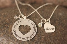 Mother and Daughter Necklace Set The love by SayWhatCreations