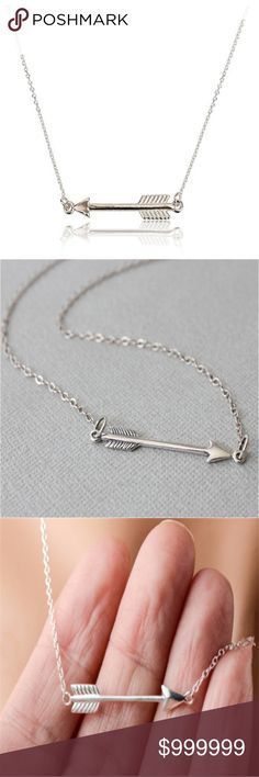 COMING SOON: Arrow Dainty Necklace Silver Color Like for Arrival Notification.  Arrow Dainty Pendant Necklace in Gold color  16 inches with a 2 inch extender   Bundle to save and layer!  Also available in Gold Color (see closet) golden threads Jewelry Necklaces