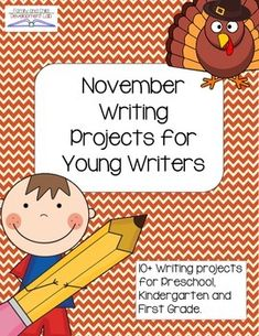 10+ Writing projects for Preschool, Kindergarten and First Grade themed for November and Thanksgiving. Writing should be engaging and authentic and now it can be with Writing Projects.  These engaging writing projects can be used as bulletin boards, in Writer's Workshop, or as an Interactive Writing assignment.