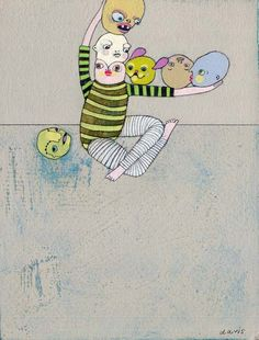 """6x8"""", acrylic/graphite/charcoal on panel  I made six new, little paintings for the  Enormous Tiny Art Show 9 opening 2/4/11 at Nahcotta  in Portsmouth, NH  You can view all of the tiny art from the show online here: www.enormoustinyart.com"""