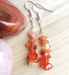 Carnelian Chips Earrings With Chain, Red Pink Orange Gemstone Earrings, Healing Jewellery, Modern Clip On, Bridesmaids Gift, Spiritual Gift by MadeByMissM on Etsy
