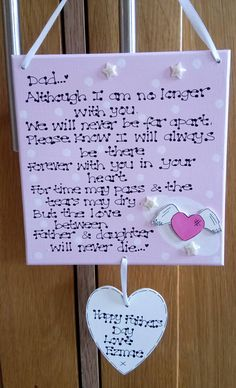 Personalised From Son Daughter In Heaven Loss Memorial Fathers Day Gift Plaque **Exclusive to Kaz Kraft UK**