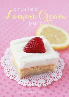 Crusted Lemon Cream Bars...these look amazing!