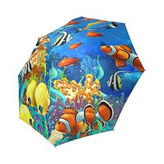 Colorful Tropical Fishes Coral Reef Under Ocean Sea Foldable Travel RainSun Antiuv Windproof Rainproof Umbrella * Read more  at the image link.