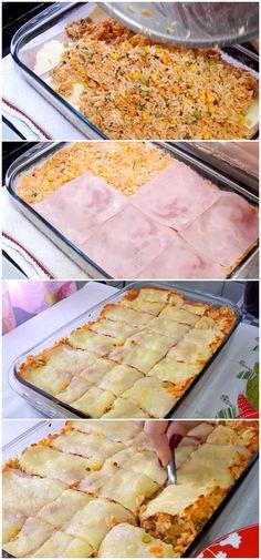 Receita de Arroz Temperado De Forno, deliciosa opção de almoço ou jantar! #almoço #jantar #arroz #forno #temperado #salgado #receita #gastronomia #culinaria #comida #delicia #receitafacil