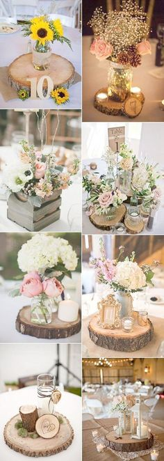 Wood themed wedding centerpieces for rustic wedding ideas 2017 trends - . Wood Themed Wedding Centerpieces for Rustic Wedding Ideas 2017 Trends – Wedding deco 2017 Wedding Trends, Wedding 2017, Dream Wedding, Trendy Wedding, Wedding Tips, Wedding Night, Spring Wedding, Wedding Venues, Sun Flower Wedding