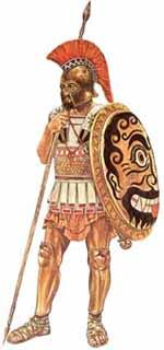 Greek hoplite during the Persian Wars. This heavy infantryman is wearing the standard armour and equipment of a citizen soldier. His helmet probably a gift from his father is slightly outdated but a welcome addition to his kit. The cost would be similar to that of a modern car for an individual so when second hand equipment could be found it was used without question.