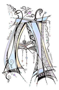 Lettering - A - Zentangle - Dangle - Monogram - By Roxy-Ann