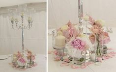 Candleabras with flowers in jars at the bottom? Wedding Fayre, Tent Wedding, Our Wedding, Disney Wedding Centerpieces, Wedding Decorations, Centerpiece Wedding, Floral Wedding, Wedding Bouquets, Wedding Flowers
