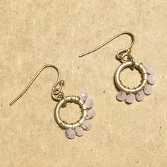 Anthropologie Pink Gold Bead Matte Finish Earrings Brand new Anthropologie Jewelry Earrings