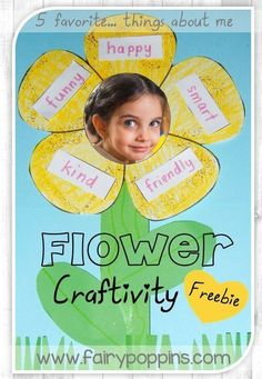 "Free ""About Me"" flower craft for kids. This is a fun activity to do during back to school week or during an all about me theme. Self Esteem Activities, Fun Activities To Do, Back To School Activities, Kindergarten Activities, Learning Activities, Preschool Activities, All About Me Activities For Toddlers, Self Esteem Crafts, Flower Activities For Kids"