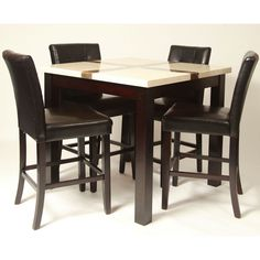 5 Piece Artificial Light Oak Marble Bar Set , Table with 4 Black Pub Chairs - The perfect complement to any dinner this pub and bar collection will inspire intriguing dinner conversations. The irresistible style will provide a sanctuary for all the senses. The table features a artifical gloss light oak marble top and solid wood legs wrapped in a rich espresso finish.