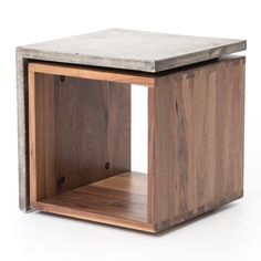 Concrete Industrial Style Wood Cube Side Table