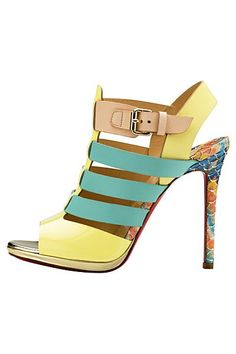 Tendance Chaussures Christian Louboutin Multicolor Yellow Green Strappy Sandal…