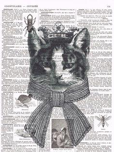 Repurposed Vintage Book Page Prints / Cat  by studioflowerpower, $8.50