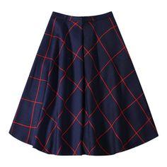 A Line Midi Plaid Skirt Purplish Blue (€21) ❤ liked on Polyvore featuring skirts, plaid a line skirt, mid calf skirts, tartan midi skirt, a line midi skirt and midi skirt