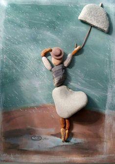 New wood art sculpture crafts 19 Ideas Pebble Painting, Pebble Art, Stone Painting, Pebble Stone, Stone Crafts, Rock Crafts, Diy Crafts, Caillou Roche, Art Plage