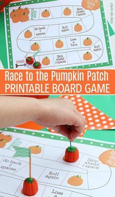 Be the first to make it to the pumpkin patch with this fun free printable board game! Perfect for all ages, this pumpkin themed board game is perfect for Fall parties, pumpkin preschool theme, Halloween games, and so much more!