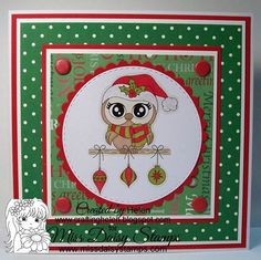 A fun card with our newly released Owl-Ways Christmas http://www.missdaisystamps.com/product/owl-ways-christmas. Thanks Helen for your inspiration! Visit Helen's blog for details here www.craftinghelen.blogspot.com Happy Stamping!